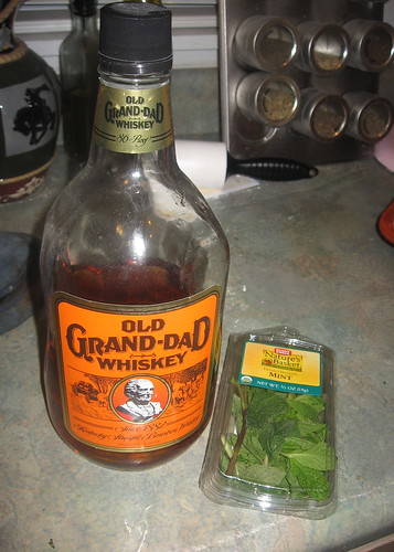 Old Grandad Whiskey and mint leaves