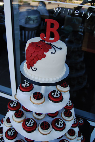 Merlot Ivory and Black Monogram Wedding Cupcake Tower topper cake