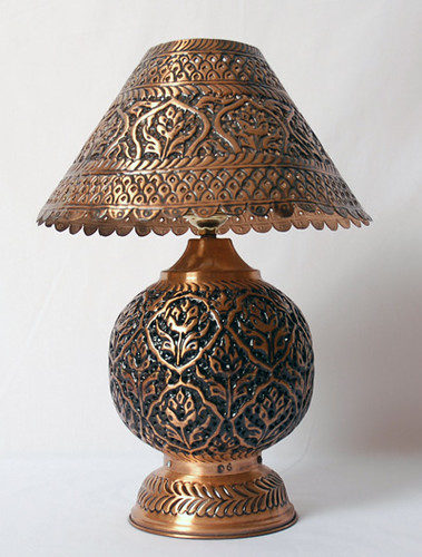 Copper Table Lamp, Antique Table Lamp