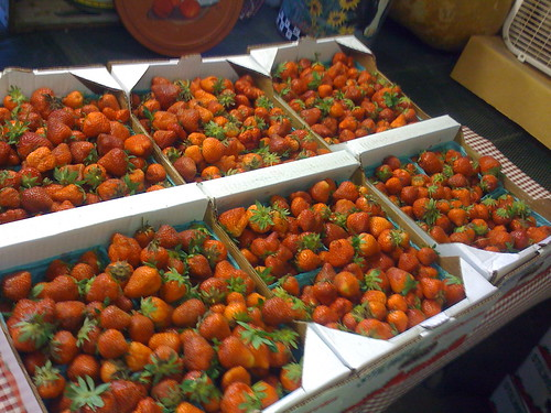 A flat of fresh strawberries at Baird's Farm outside Stilwell, Oklahoma