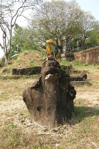 062.毀棄的蛇頭石雕