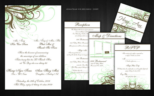 Green and Brown Vietnamese Wedding Invitations share