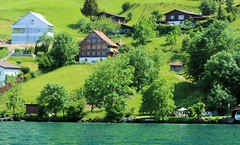 Lucern Fairy Tale Set II (cwgoodroe) Tags: sun mountain lake snow alps green church statue ferry fairytale swimming switzerland boat europe locals suisse swiss sunny location farms movieset luce swissalps lucern medivil beerpasture