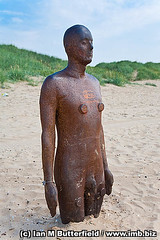 One of Antony Gormley's 'Another place' iron man statues. (Ian M Butterfield) Tags: uk england sculpture sun man art beach monument sunshine statue metal standing liverpool naked nude one stand sand iron place unitedkingdom bare sandy landmarks statues sunny bluesky landmark coastal castiron beaches coastline another nudity monuments antony stripped exposed touristattraction sculptor gormley stands crosby antonygormley stood merseyside undressed anotherplace crosbybeach gormleys unclothed
