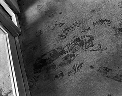 Passing Through (J Kane) Tags: blackandwhite feet path footprints doorway traveling