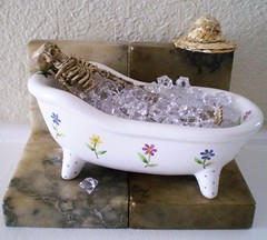 Coolin' Off and Cleanin' Up (Enchanticals ~I'm Coming Back) Tags: hot ice halloween smile hat smiling dead skeleton skull miniatures miniature bath teeth relaxing hats cleaning spooky clean wash fantasy heat bones icecubes undead bathtub bone etsy bathing secretlifeoftoys washing serial whimsical coolingoff oneinchscale 112scale 112thscale onetwelfthscale etsyteams faeteam scaledollhouseminiature enchanticals miniaturedollhousescale enchanticalsetsy funwithinanimateobjects