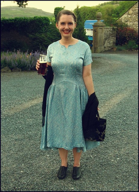 powder blue vintage dress at a wedding