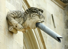 My Learned Friend? Contempory gargoyle on Chichester Cathedral (SteveJM2009) Tags: uk june stone modern fun carved cathedral westsussex pipe humour gargoyle politician spout barrister anglican chichester stevemaskell contempory 2011 chichestercathedral cliffordhodgetts clerktochapter