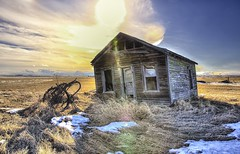 Better Days (John Andersen (JPAndersen images)) Tags: sun house canada calgary abandoned spring farm alberta flare leaning hdr stubble photomatix canon6d jpandersenimages canonef2470f28iiusm