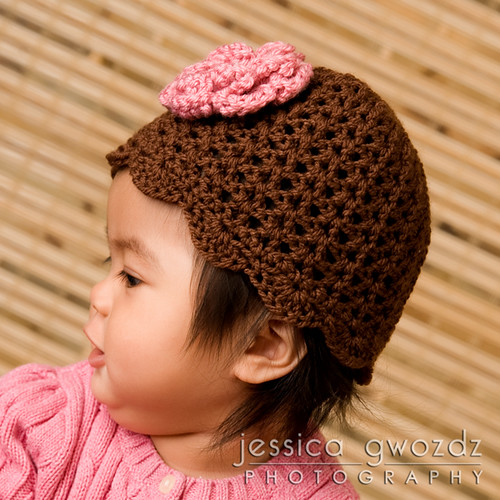 Brown & Pink Flower Hat