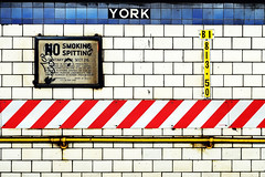 york street (Idle Type) Tags: york nyc blue red white newyork black sign yellow brooklyn silver underground subway 50mm nikon stripes bricks tiles mta gothamist d200 ftrain nospitting yorkstreet