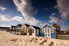 (Claire Hutton) Tags: uk blue england sky holiday beach home clouds seaside sand huts dorset beachhuts hengistburyhead leefilters 09ndgrad