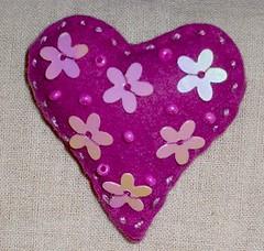 Felt Heart - Καρδιά από Τσόχα με Χάντρες