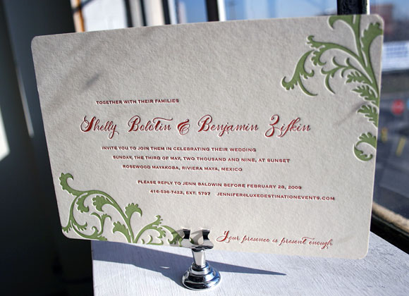 Letterpress wedding invitation - Vettore design with calligraphy  - Smock