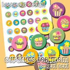 cupcakes for mom (revi1001) Tags: original cute collage circle mom tag mother cupcake round kawaii sheet etsy bottlecap revidevi revi1001