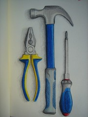 Tools On Moleskine (Digital Owl) Tags: moleskine hammer tools screwdriver pliers colorpencils mge digitalowl digiowl