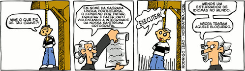 Joke about Brazilian Portuguese language being killed by social networks