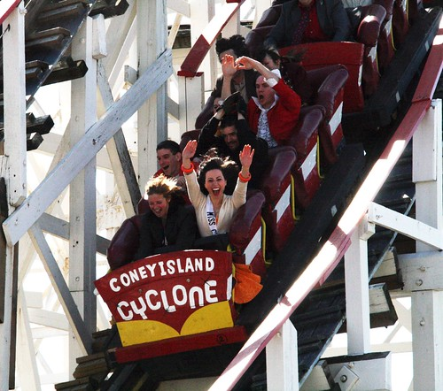 Coney Island Cyclone, Second Ride of the Season. Photo by Pablo57 via flickr