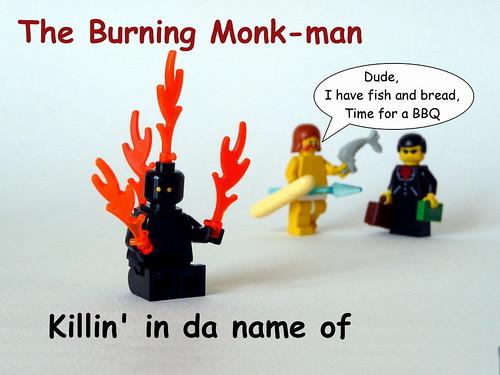 Burning Tibetian buddist Monk custom minifig