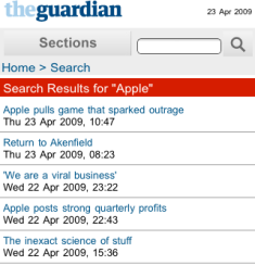 Guardian mobile site search