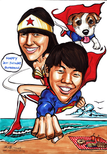 Couple caricature Super man Wonder woman Superdog