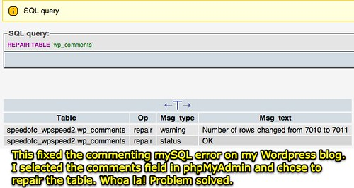mySQL blog commenting problem fixed