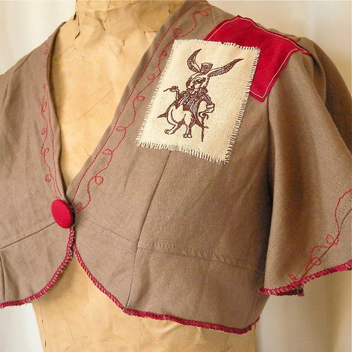 cherry chocolate bunny crop jacket