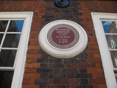 Photo of Samuel Johnson brown plaque