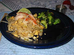 Pad Thai and roasted broccoli