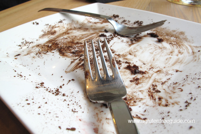 gluten free brownie aftermath at pizza fusion