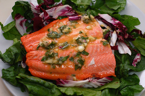 Poached Salmon Salad with Honey Vinaigrette