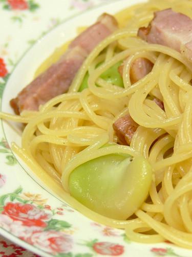空豆のスパゲティ