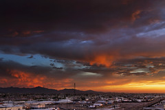 Beautiful Chaos (jimhankey) Tags: railroad sunset red arizona sky orange cloud sun mountain storm mountains building phoenix beautiful weather yellow skyline clouds train landscape gold spring downtown desert cloudy dusk scenic naturallight sunny stormy valley citylights vista orangesky redsky downtownphoenix goldensunset dramaticsky railyard 2009 beautifulclouds beautifulview sunray trainyard desertview cirrus eveninglight phoenixarizona stormyweather beautifulscenery afternoonlight freighttrain redsunset southmountain phoenixaz scenicview desertmountain eerielight maricopacounty goldensky nikond200 unusuallight glowingcloud dearflickrfriend jimhankey arizonaspring arizonaweather phoenixweather phoenixariz phoenixspring