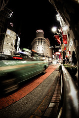 tokyo at night fisheye (pavelpipowitsh) Tags: street city travel light motion japan night speed lens tokyo movement nacht cab taxi shibuya streetlife fisheye bewegung japon challenge dunkel kws tokio wideangel dynamik strase sigma10mmf28 sigma10mmfisheye