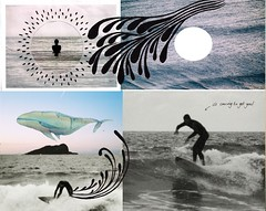 Blurrrrgh (Maddie Joyce) Tags: sea white black art collage illustration island mixed media paint surf waves drawing zombie surfer surfing freak whale boarder themagicbus wwwthemagicbuscollectivecom maddiejoyce