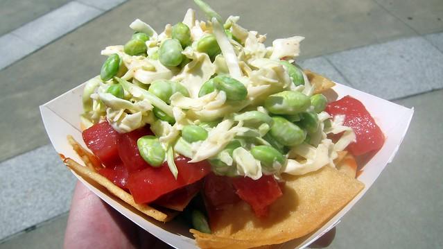 the lime truck's ahi tuna poke nachos