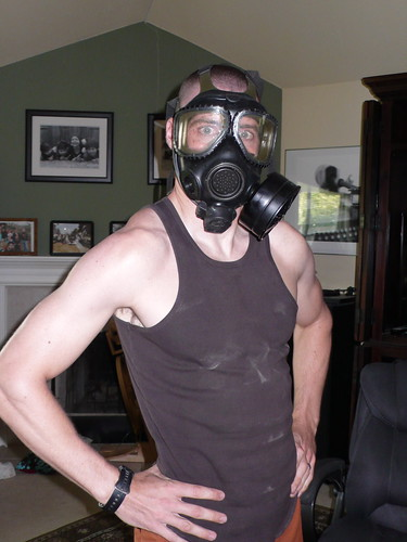 Greg showing us his gas mask