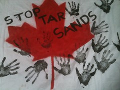 Stop Tar Sands action 18th June 2011 - Flag with handprints 03