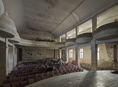 Encore, Encore! (Subversive Photography) Tags: light cinema brick abandoned architecture canon chairs theatre decay piano atmosphere bulgaria urbanexploration seats soviet feeling ornate shape pillars derelict urbex 17mmtse danielbarter