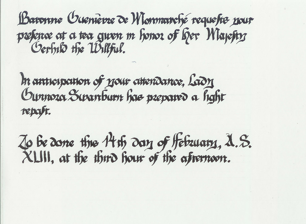 Invitation to Baroness Tea, Ymir 2009. Done in the Hastings Hours script.