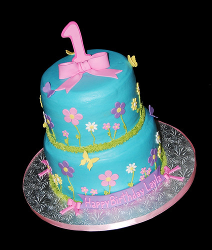 Flowers and butterflies 1st birthday 2 tier cake