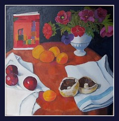 Still life with Card (dozydotes) Tags: stilllife orange colour art fruit painting mushrooms plums apricots