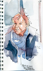 She seemed so tired while on the bus, I'd say she was coming back home from work (Er to'e la cafetera) Tags: woman watercolor tired bologna fountainpen onthebus dibujismo cuadernismo sketchbookism drawism dibujeo cuaderneo