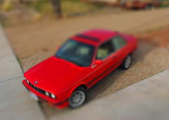 hot (red) wheels (t knouff) Tags: red car miniature wheels mini hotwheels bmw sportscar bavarian bimmer tiltshift redsportscar