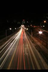 Looking South to Yonge and St Clair From the Kay Gardiner Belt Line Bridge, Toronto (Tony Lea) Tags: street toronto ontario canada night belt long exposure traffic time stclair kay davisville tony line lea anthony gardiner yonge streaks beltline tonylea anthonylea