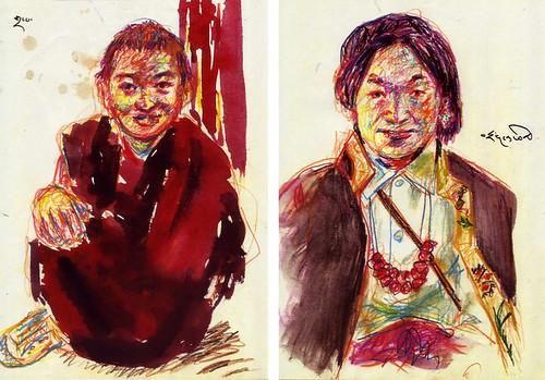 ラサで出会ったチベット人(絵:下田昌克 1994.5)