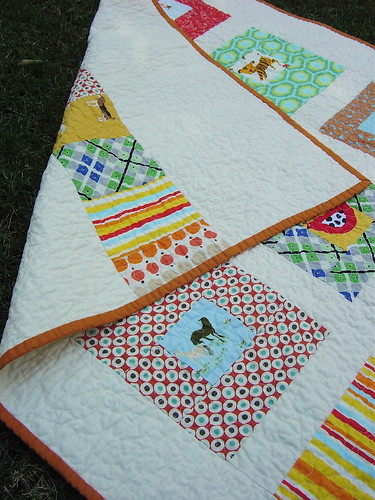 Square in Squares Gender Neutral Baby Quilt