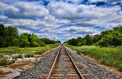 Hawk over the Tracks (Jeff Clow) Tags: landscape hawk dfw railroadtracks coppercanyonroad jeffrclow top20texas bestoftexas topazadjust