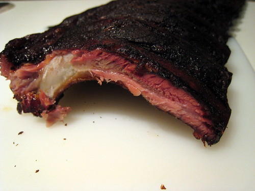 Cross section of the rib, the pink/red color is caused by the smoke. It's a good thing.