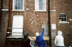 Snowball Fight 4 (flannery lawrence) Tags: winter vanessa parkinglot disposablecamera snowballfight keara kalyna